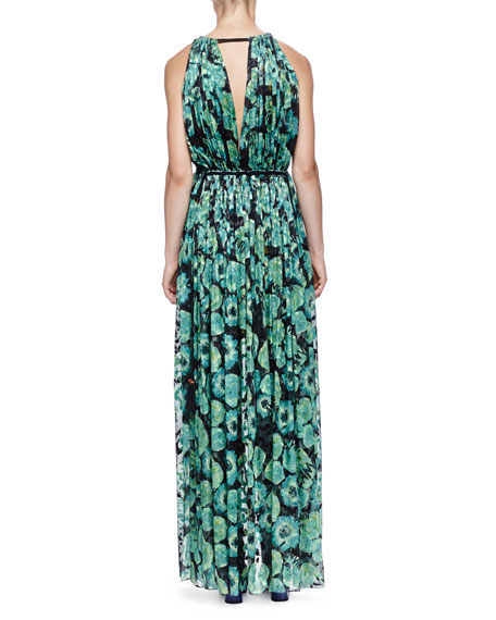 Floral-Print Tassel Drawstring-Neck Maxi Dress