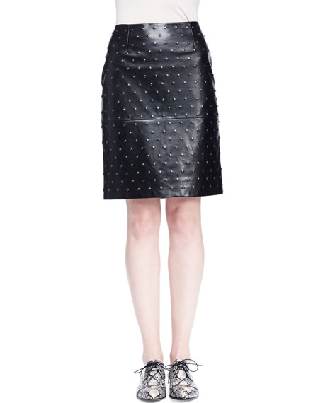 Lanvin Studded Leather Pencil Skirt