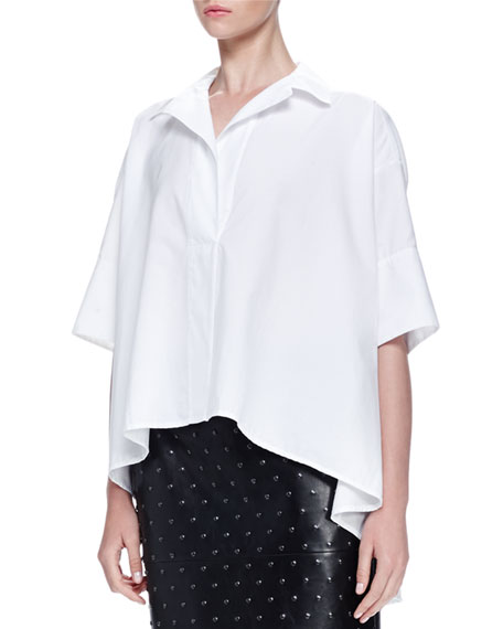 Lanvin Short-Sleeve Oversized Poplin Shirt