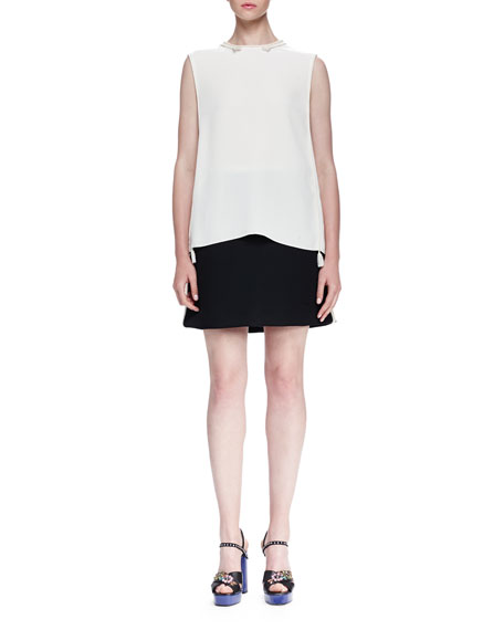 Lanvin Rope-Trimmed Back-Tie Blouse, Cream