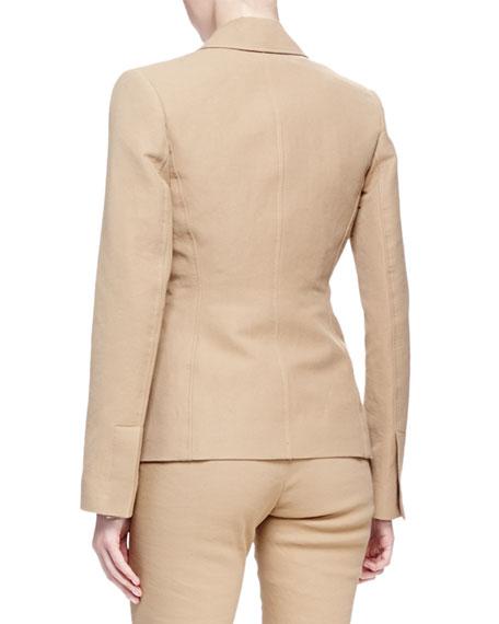 Linen-Blend Patch-Pocket Blazer