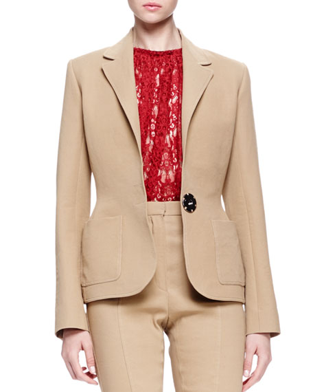 Lanvin Linen-Blend Patch-Pocket Blazer, Sheer Lace Trapeze Top