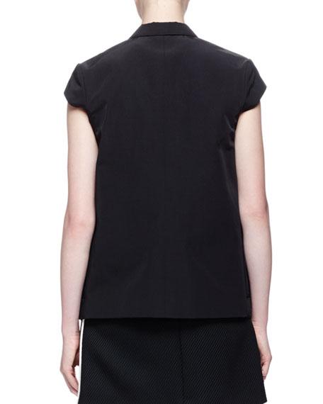 Cap-Sleeve Button-Front Jacket, Black