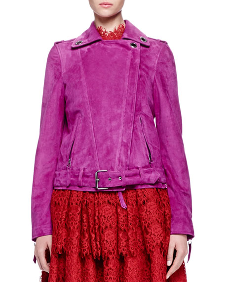 Lanvin Grommet-Detailed Suede Jacket, Magenta