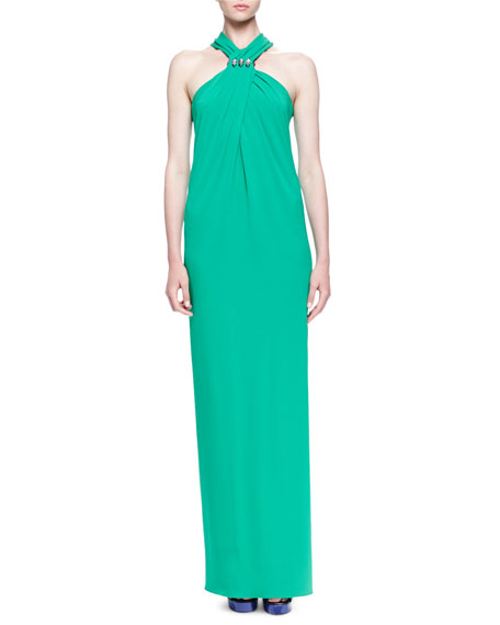 Lanvin Crystal-Detailed Twisted Halter Maxi Dress