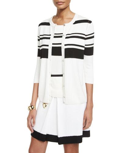 Striped Knit 3/4-Sleeve Cardigan
