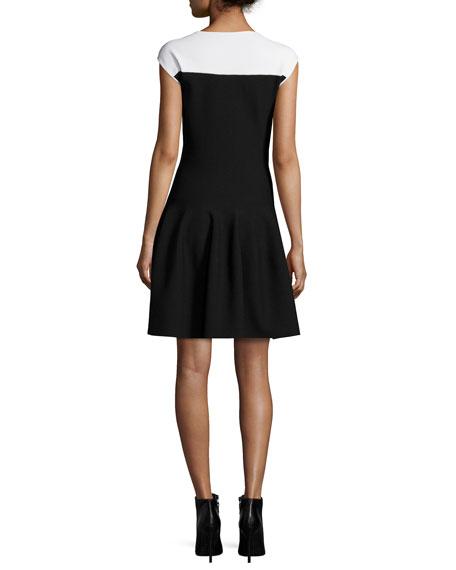 Colorblock Fit-&-Flare Dress, Black/White