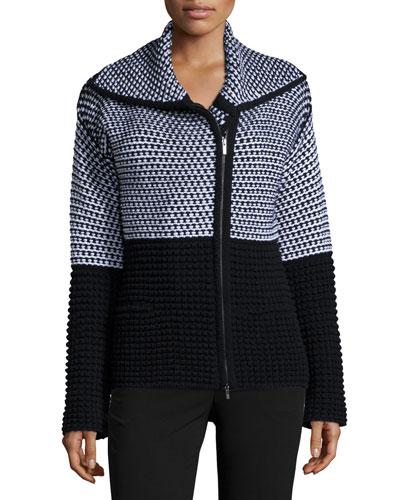 Colorblock Popcorn Knit Zip Sweater, Black/White