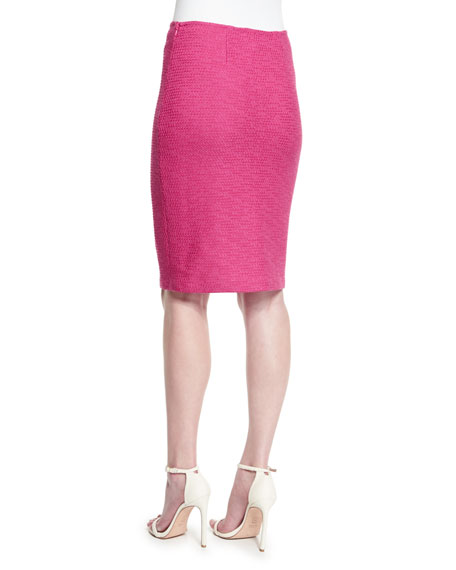 Bonbon Knit Pencil Skirt, Cerise