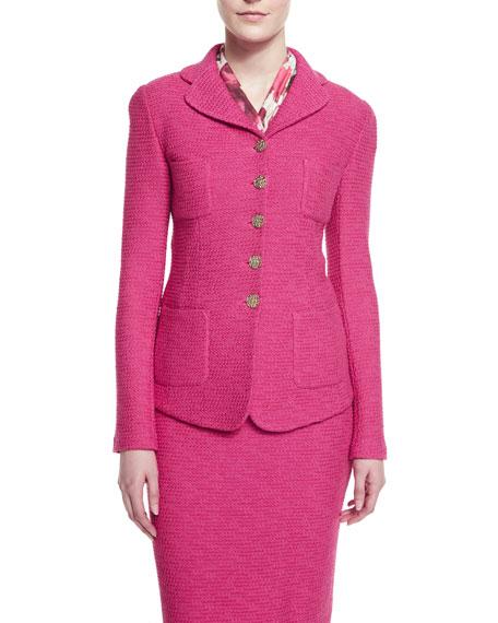 Bonbon Knit Jacket with Pockets, Cerise