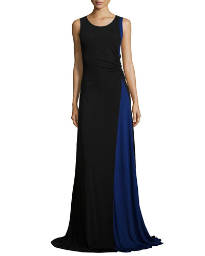 Colorblock Ruched Jersey Gown, Black/Bluette