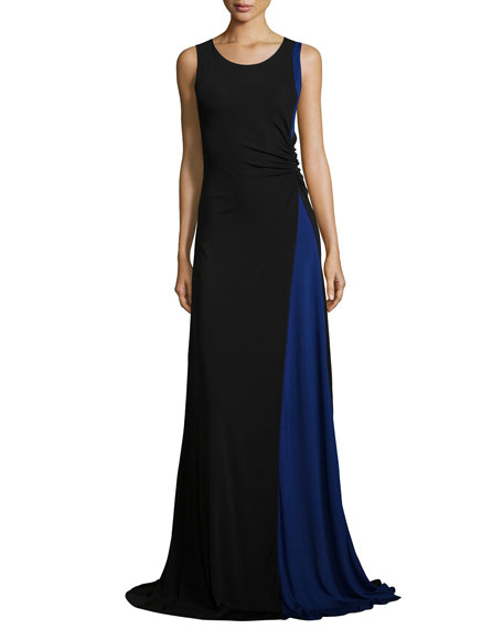 Armani Collezioni Colorblock Ruched Jersey Gown, Black/Bluette