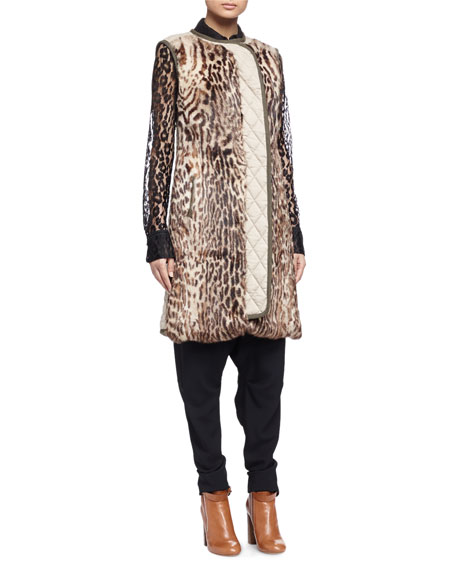 Chloe Leopard-Print Fur Paneled Long Vest