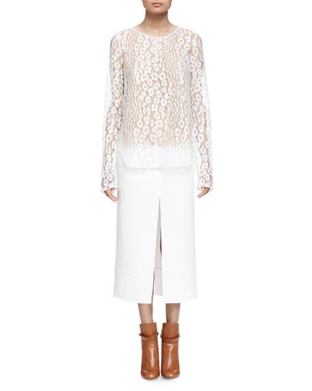 Chloe Long-Sleeve Leopard-Lace Blouse, Milk