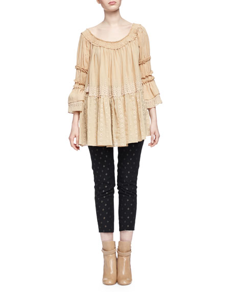 Chloe Off-The-Shoulder Eyelet Peasant Top, Beige Rose