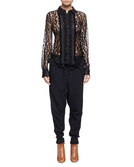 Chloe Sheer Leopard-Pattern Lace Blouse