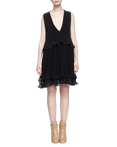 Fluted Plisse Georgette Dress