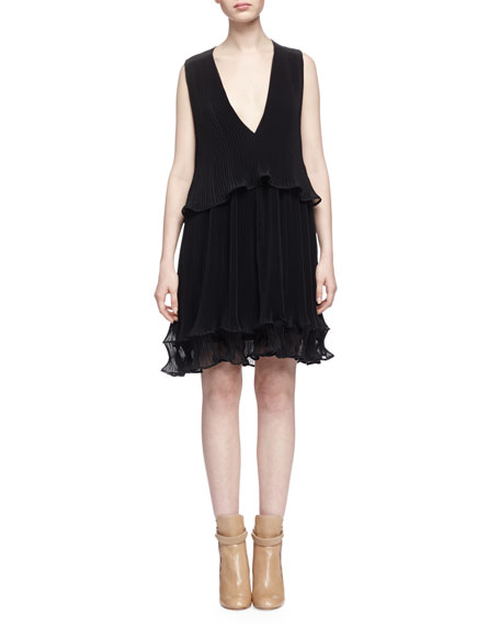 Chloe Fluted Plisse Georgette Dress