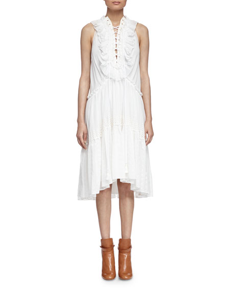 Chloe Embroidered Tiered Ruffled Dress, Milk