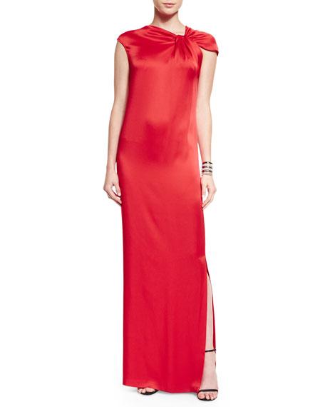 St. John CollectionAsymmetric Drape-Front Liquid Satin Gown,