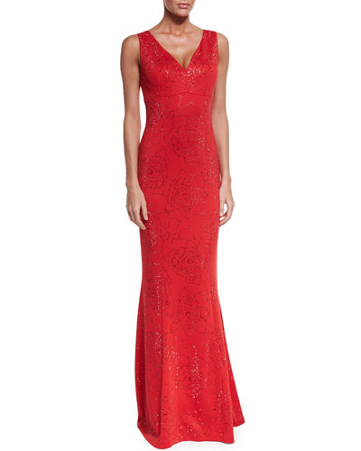 Sequin Rose Milano Knit V-Neck Gown, Granita