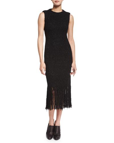 Tweed Fringe Midi Dress