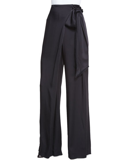Wide-Leg Wrapped Satin Pants, Black