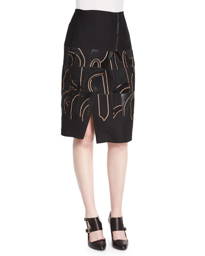 Abstract-Beaded Zip-Yoked Skirt