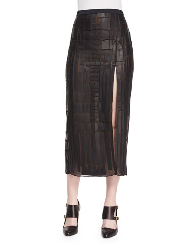 Pieced Leather High-Slit Midi Skirt