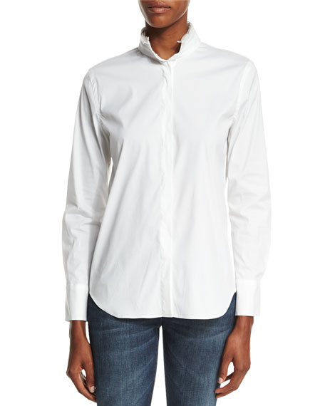 Brunello Cucinelli Monili-Trim Long-Sleeve Shirt, White