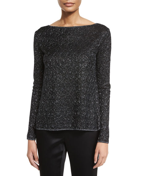 St. John Collection Toile Knit Bateau-Neck Sweater