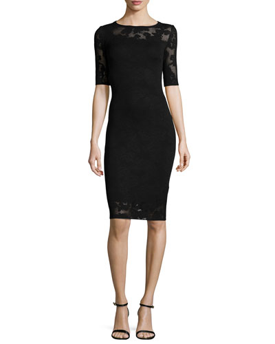 Jardin Knit Dress with Sheer Inserts, Caviar