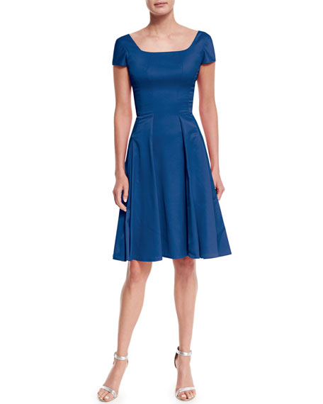 Zac Posen Short-Sleeve Crepe Fit-And-Flare Dress
