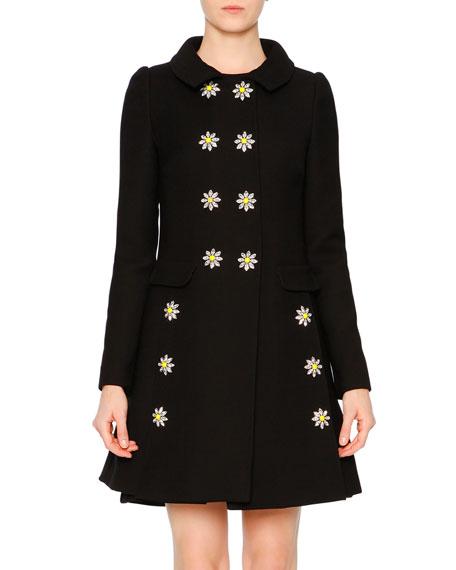 Embellished-Daisy Double-Breasted Coat, Black