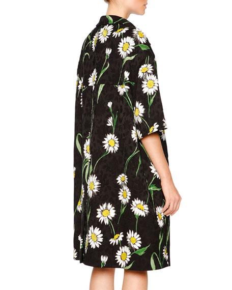 Daisy-Print Topper Coat, Black/White/Green