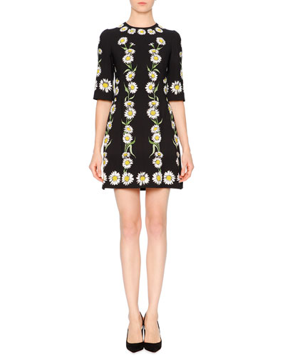 Elbow-Sleeve Cady Daisy Dress, Black/White/Green