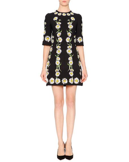 Dolce & Gabbana Elbow-Sleeve Cady Daisy Dress, Black/White/Green