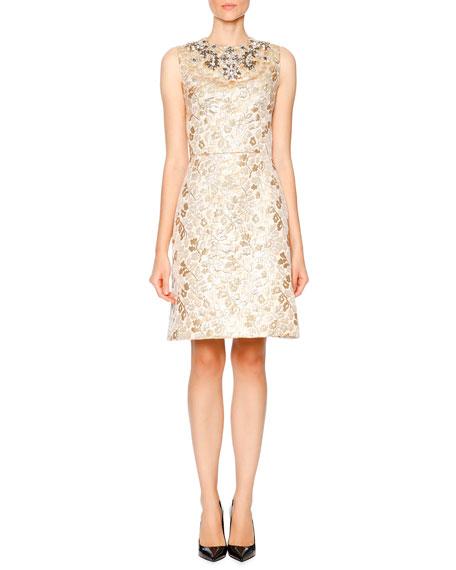 Dolce & Gabbana Sleeveless Embellished Dress, Gold