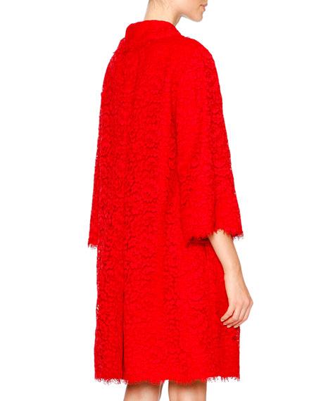 Dolce & Gabbana Cordonetto Lace Topper Coat, Bright Red