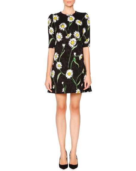 Dolce & Gabbana Daisy-Print Half-Sleeve Shift Dress, Black/White/Green