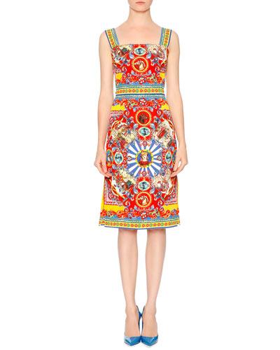 Sleeveless Carretto-Print Dress, Red/Yellow/Blue