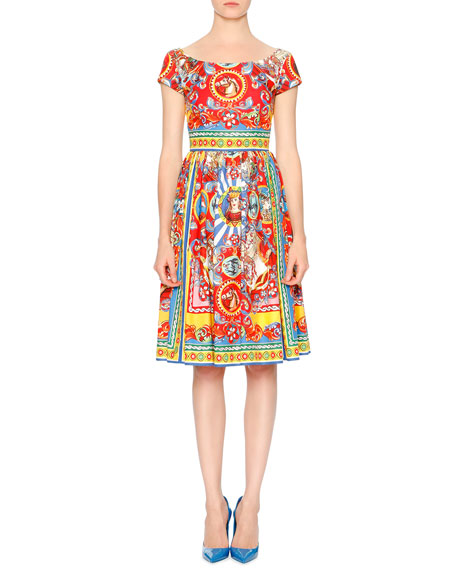 Dolce & Gabbana Carretto-Print Cotton Fit-&-Flare Dress,