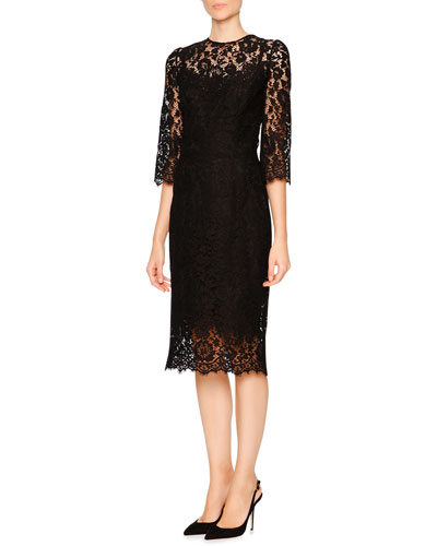 Lace Dress W/Embellished Daisy Buttons, Black