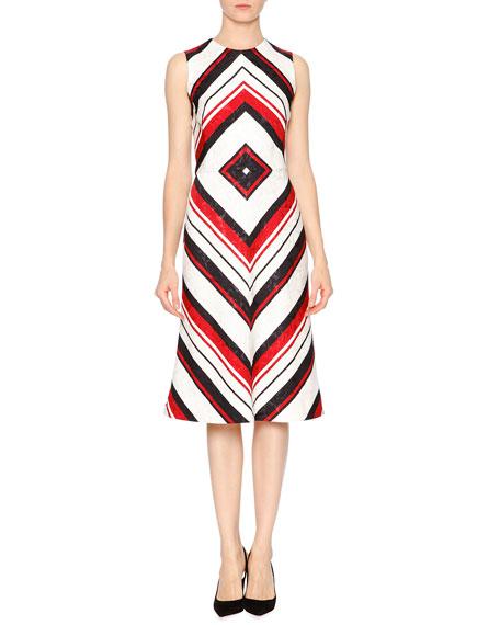 Dolce & Gabbana Sleeveless Geometric-Print Dress, Red/White/Black