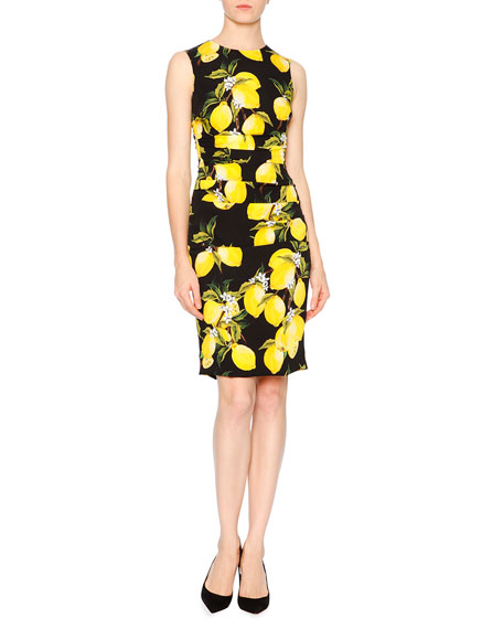 Dolce & Gabbana Sleeveless Lemon-Print Sheath Dress, Yellow/Black