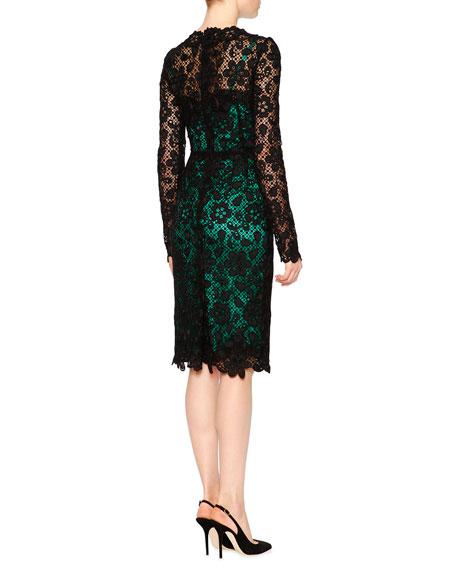 Long-Sleeve Lace Dress W/Contrast Slip, Black/Green