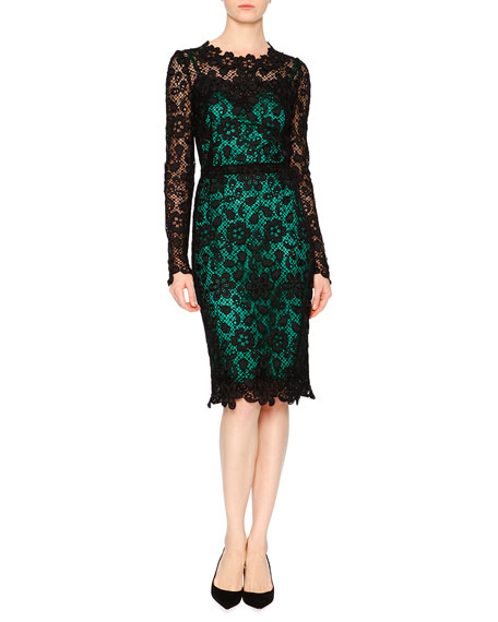 Image 1 of 2: Long-Sleeve Lace Dress W/Contrast Slip, Black/Green