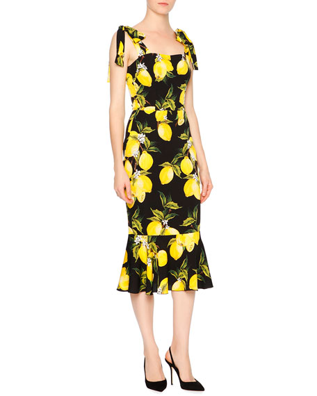 Dolce u0026 Gabbana Sleeveless Lemon Flounce-Hem Dress Yellow/Black | Neiman Marcus