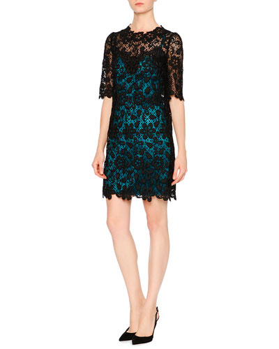 Floral-Lace Dress W/Contrast Slip, Black/Turquoise