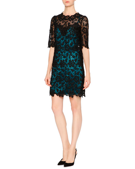 Dolce & Gabbana Floral-Lace Dress W/Contrast Slip, Black/Turquoise